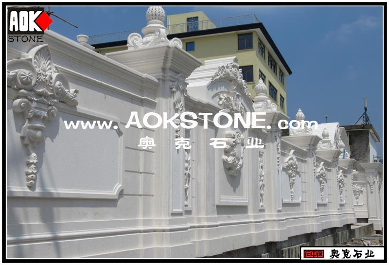 别墅围墙大门石雕建筑——石灰岩
