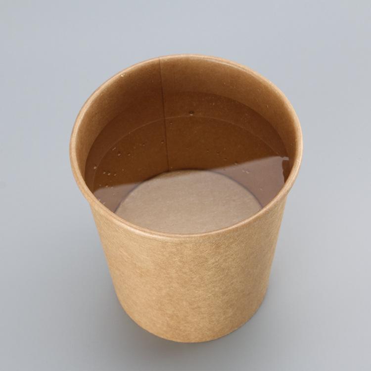 广东生产一次性牛皮纸汤桶一次性打包圆形汤杯外卖批发