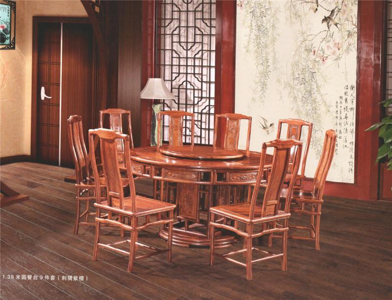 力薦鴻福堂古典紅木家具新款紅木餐桌-萬江紅木餐桌