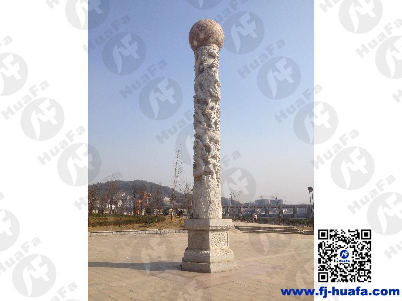 龍柱安裝-精巧別致的石雕龍柱供應