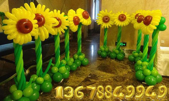 青岛气球花草树木布置青岛彩虹气球布置