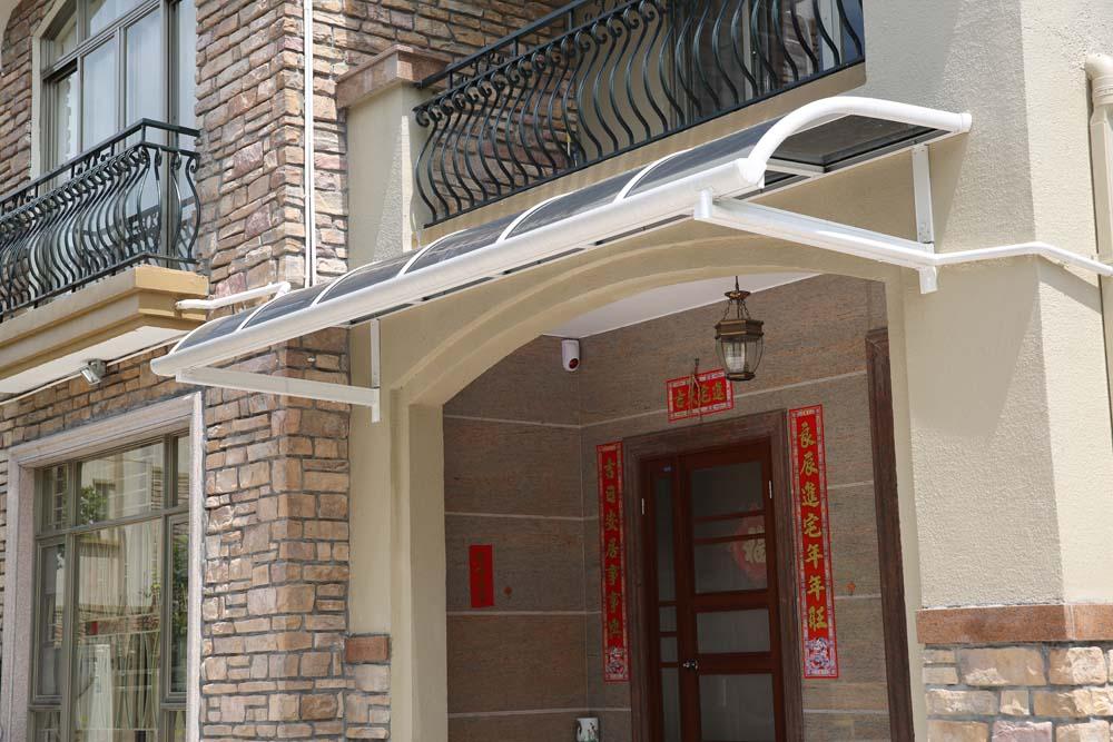 定制别墅铝合金露台大门阳台雨棚阳光棚耐力板遮阳蓬