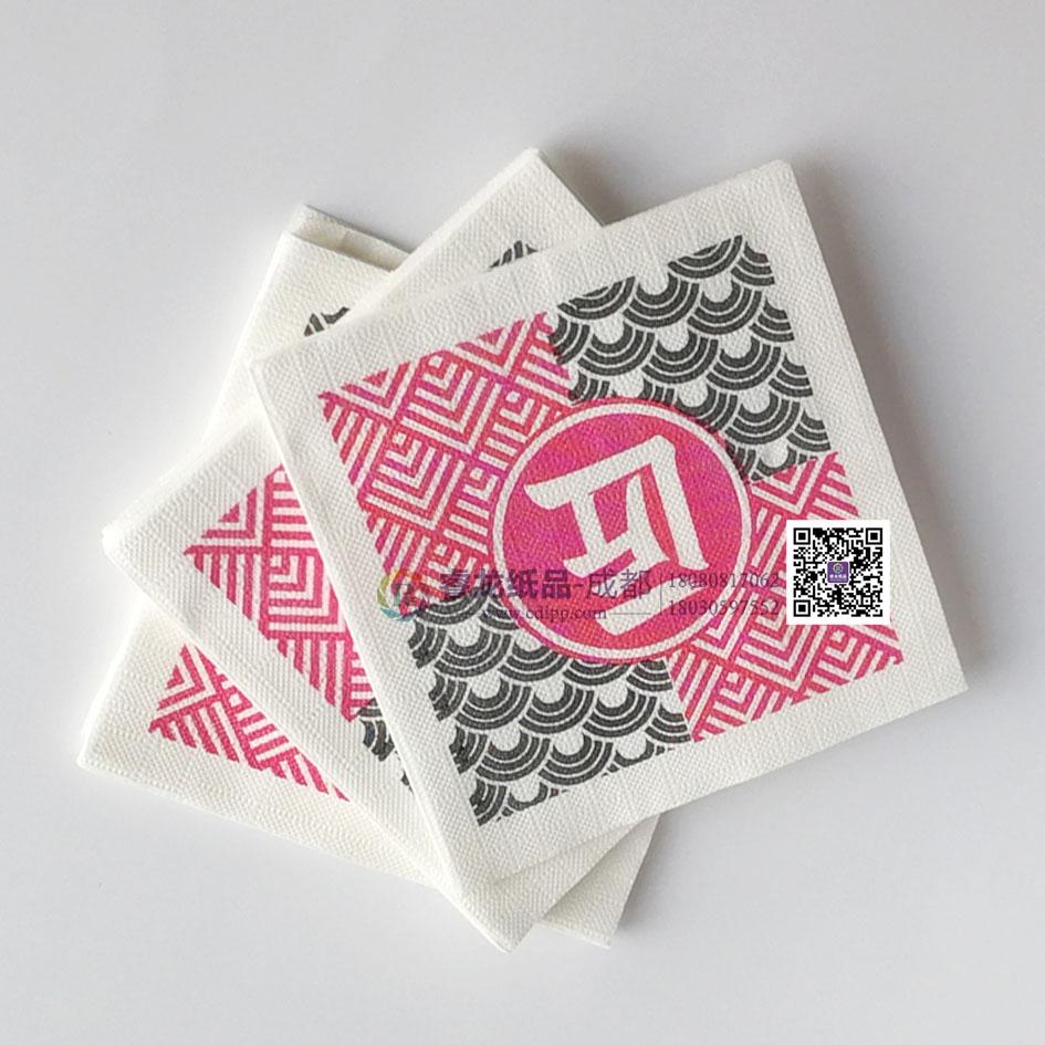 定制原生木浆餐巾纸~方形广告抽纸可印logo@成都睿龙纸品
