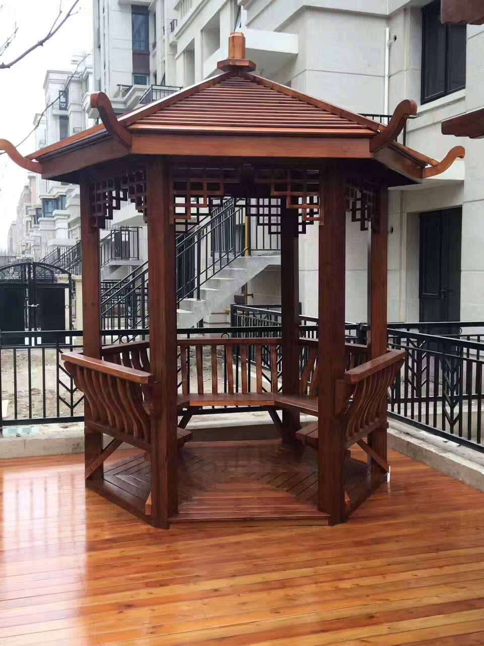 石家庄防腐木四角凉亭设计-在哪能买到高质量防腐木凉亭
