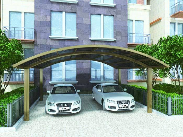 贵州铝艺车棚|新逸巢新型建材铝艺车棚您的品质之选