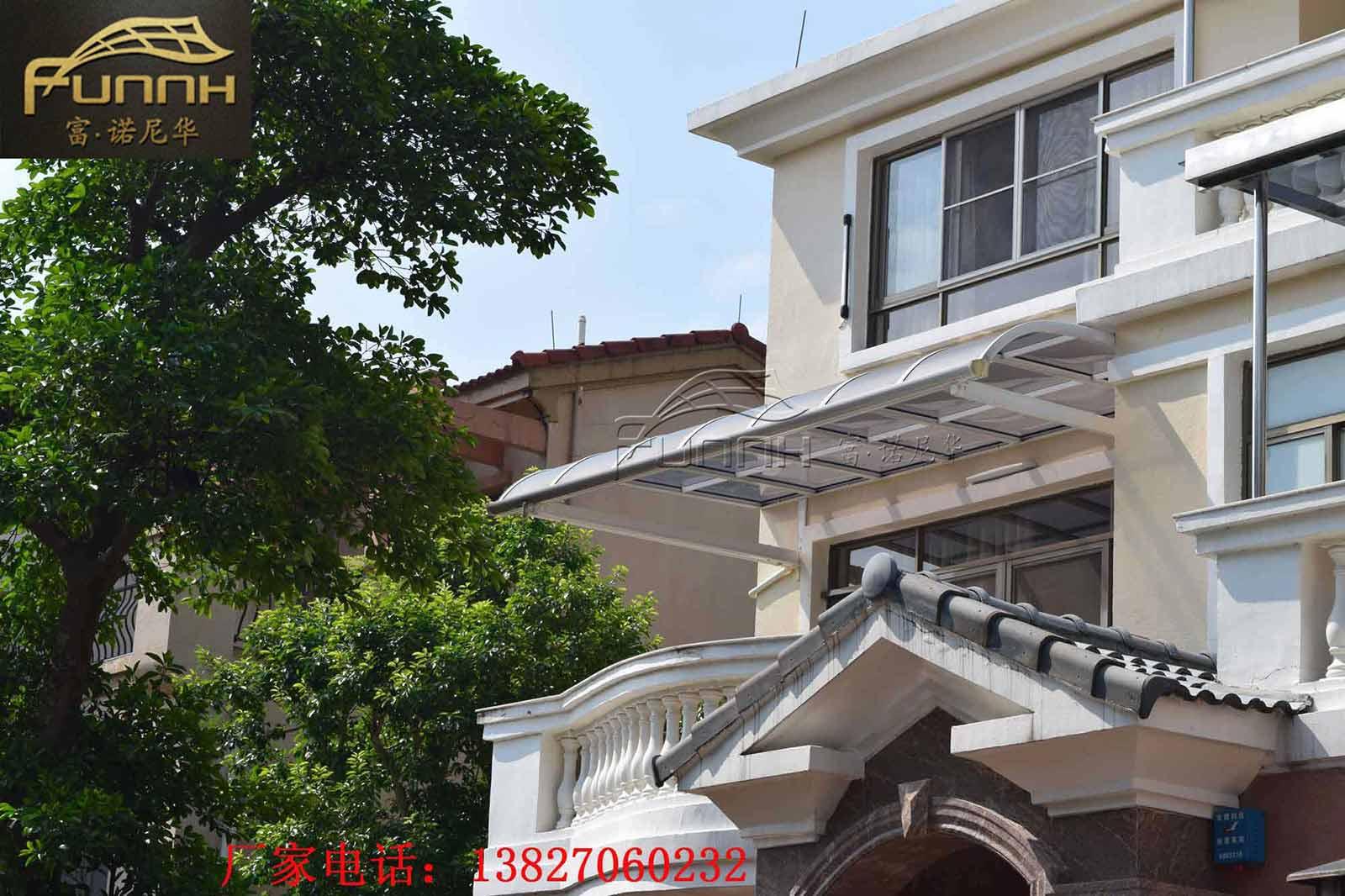 定制鋁合金窗棚 別墅樓頂天臺遮陽露臺棚 pc耐力板雨搭