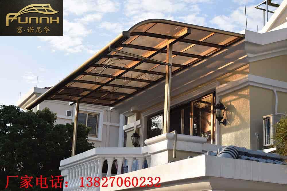庭院花園戶外鋁合金窗棚遮陽棚 pc耐力板別墅樓頂露臺棚