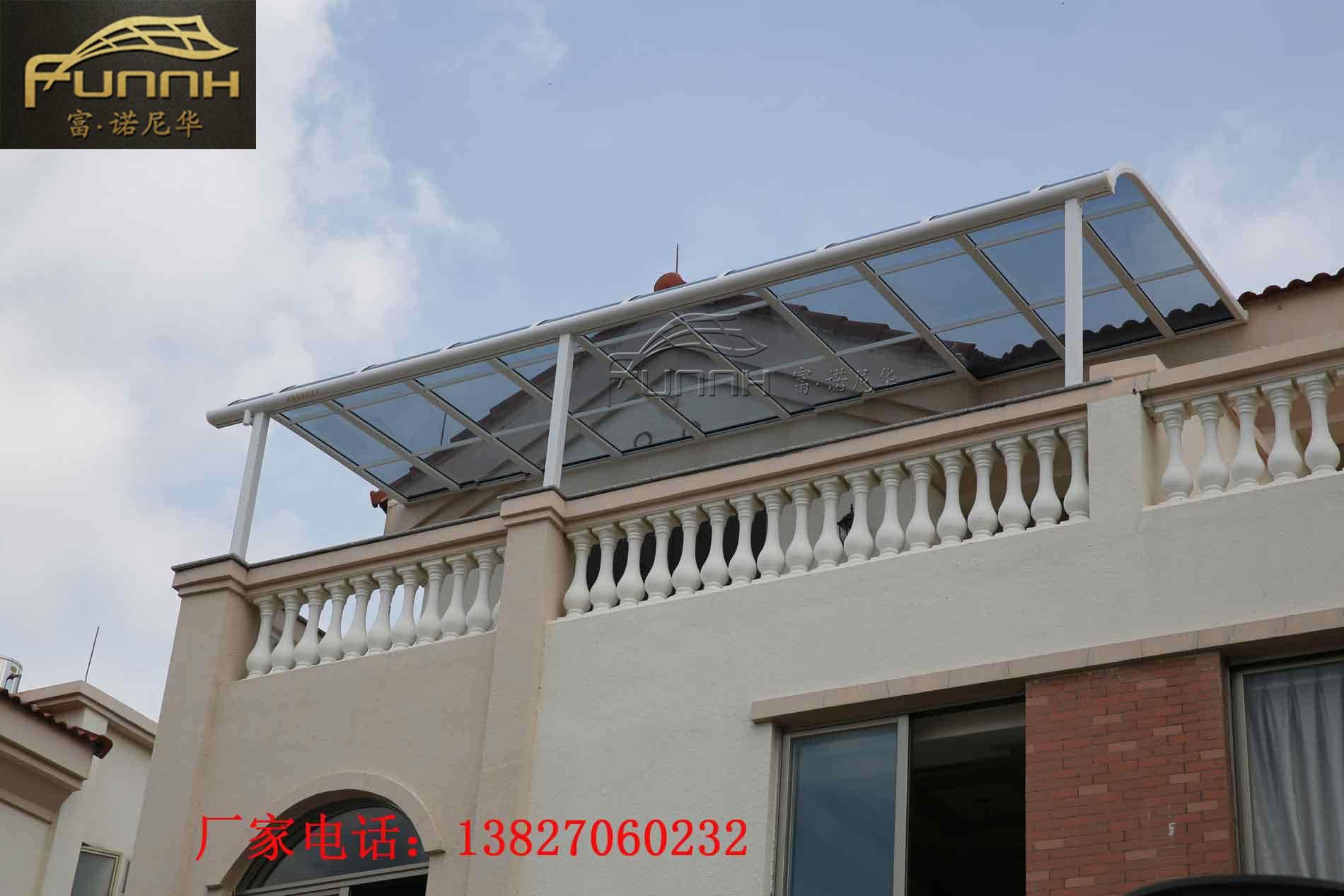 户外家用铝合金窗户遮阳棚挡雨棚 别墅阳台防雨棚耐力板遮阳棚