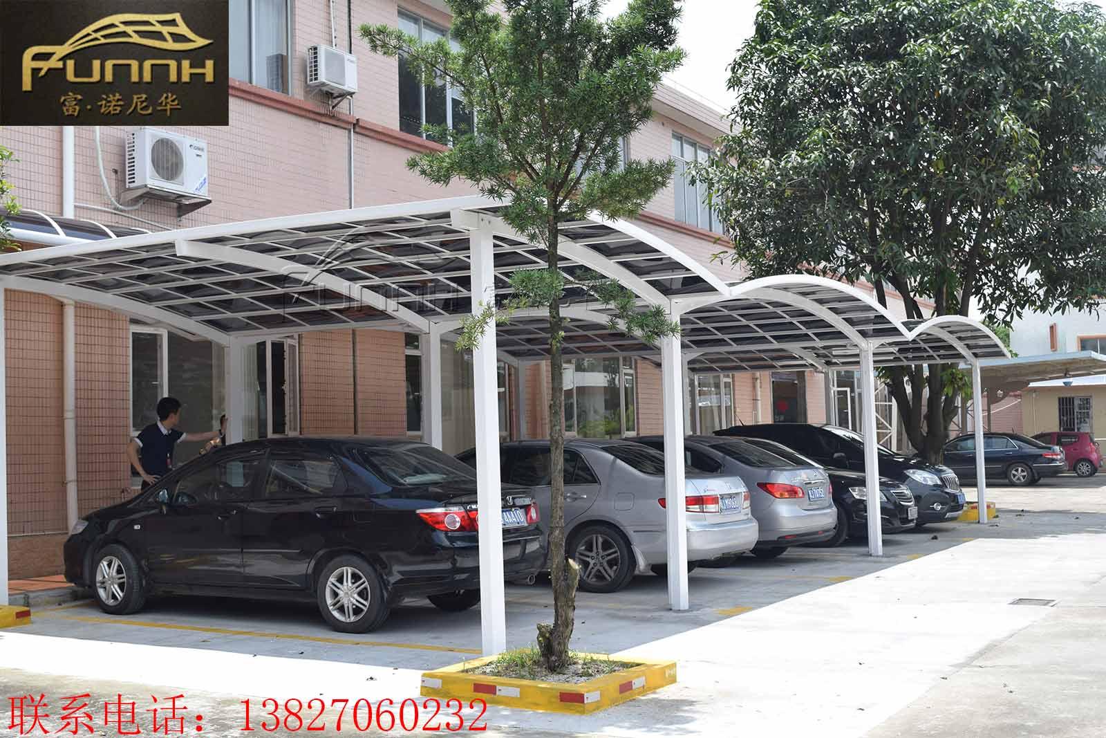 厂家定制高档别墅户外停车棚PC耐力板雨棚铝合金遮阳棚露台棚
