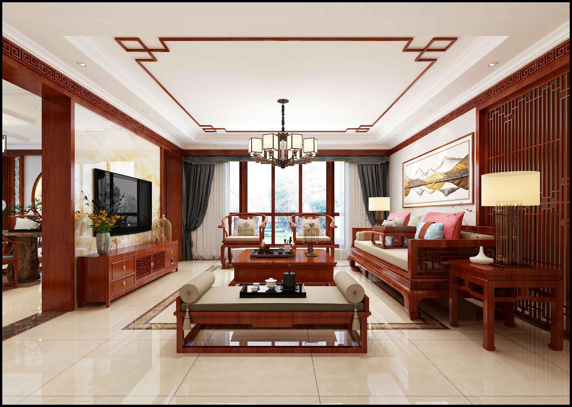 青岛开发区别墅套房装修流行风格-中式风格-专业设计装修