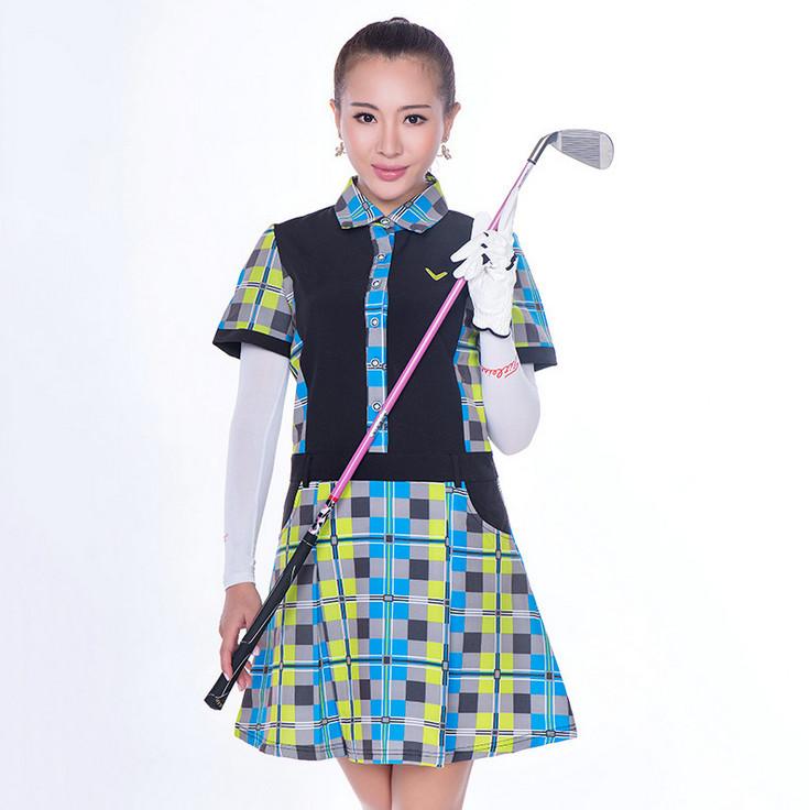 北京高尔夫女装 信誉好的纯棉大摆弄套头单件翻领短袖连衣裙厂家推荐