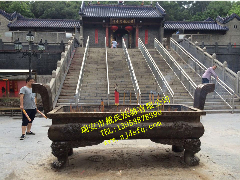 温州知名厂家为您供应高端寺庙长方形铜香炉_铸造庙宇庵观香炉