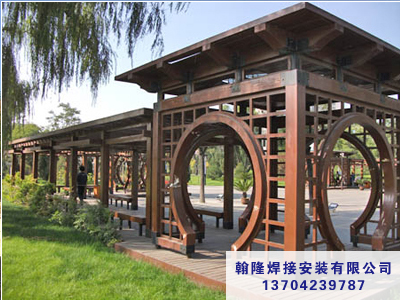 为您推荐翰隆焊接安装中心优质的园林景观工程-营口碳化木凉亭