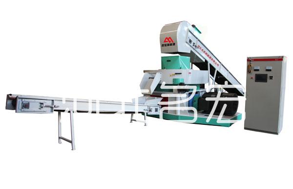 花生壳燃料压块设备|选购专业的9JK-4500型减速机式秸秆压块机就选名宏新能源