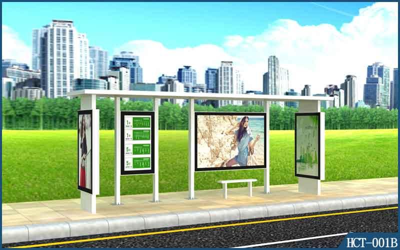 想买优惠的HCT-001B公交候车亭就来远大广告设备|专业的广告果皮箱
