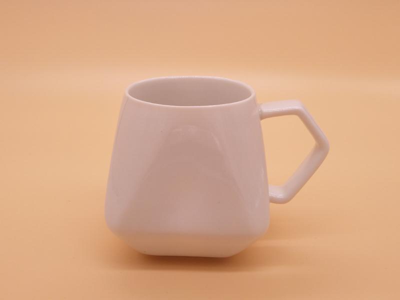 福州高性价菱形纯白色8盎司马克杯批发 陶瓷水杯定制