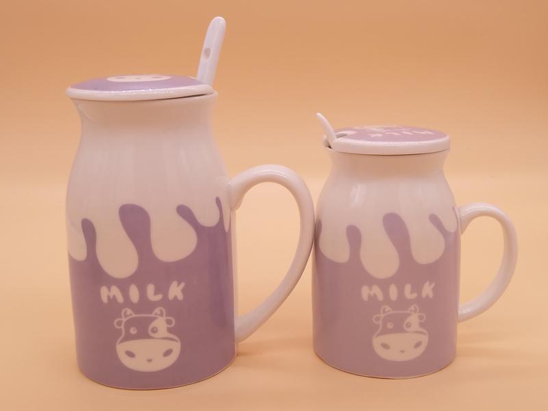 卡通水杯-福建四色卡通陶瓷牛奶杯定制