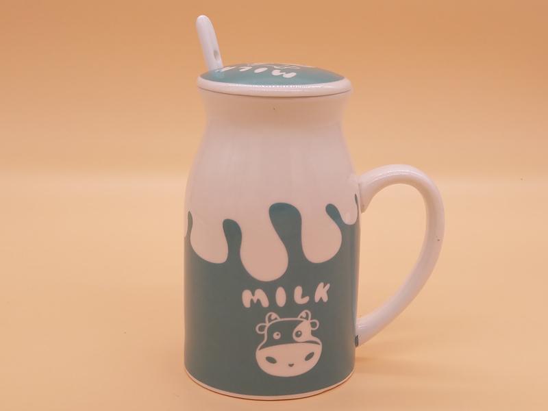 四色卡通陶瓷牛奶杯定制哪家好-陶瓷杯