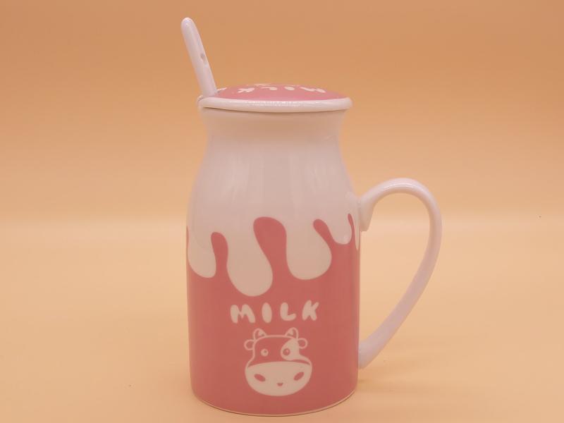 福建德化陶瓷定制 四色卡通陶瓷牛奶杯