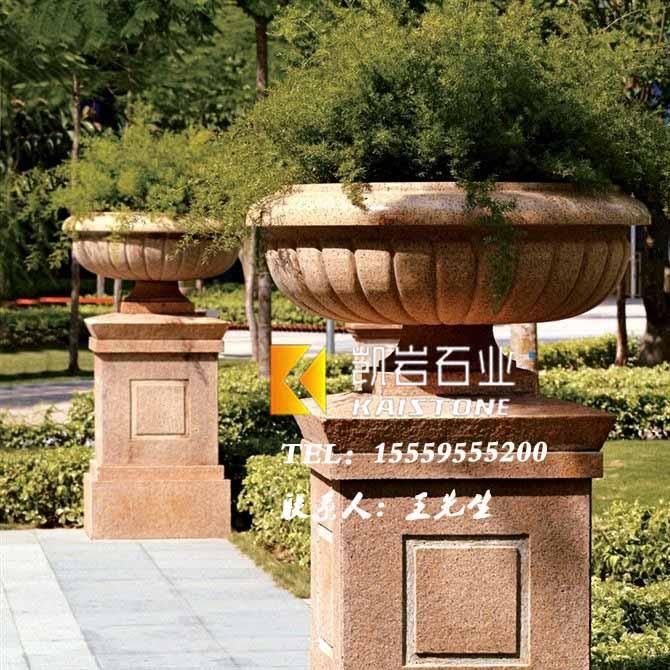 園林景觀花缽石雕訂做_精湛的園林景觀花缽石雕盡在凱巖石業