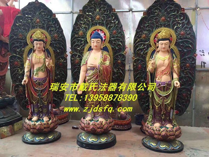 专业定制西方三圣佛像_马鞍山佛教铜佛像