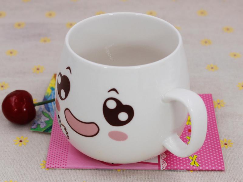 福州实惠的创意可爱萌表情带盖勺杯子推荐-陶瓷杯