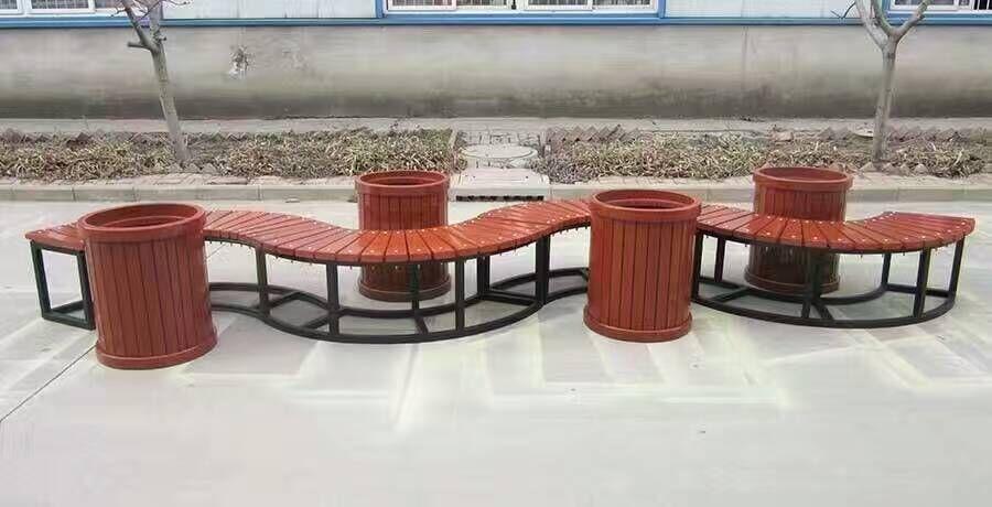 山东园林椅 靠背椅 长椅平凳 铸铁椅腿 垃圾桶