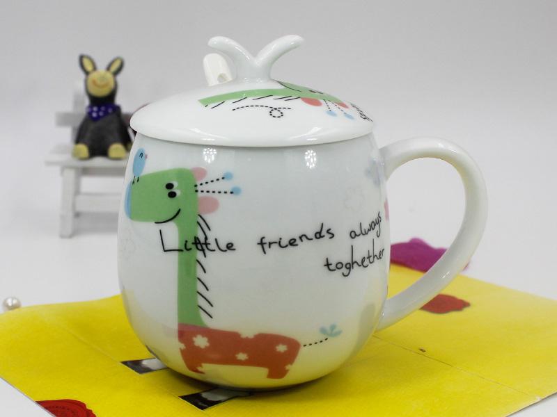 礼品定制-大量供应出售高性价创意卡通缩口陶瓷杯