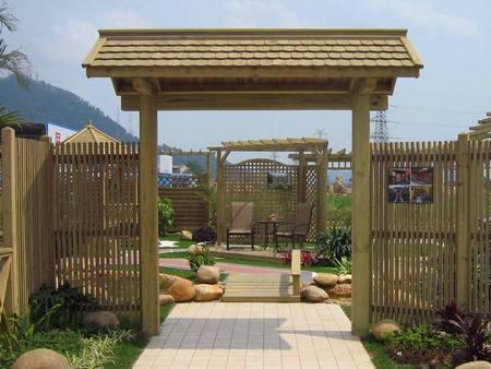 昌富亿达钢木结构长廊您的品质之选-海南防腐木木板