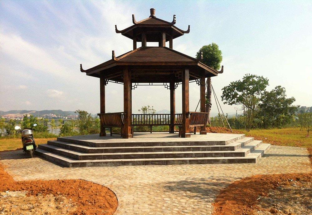 沈阳景观设计——供应朝阳优惠的朝阳碳化木凉亭
