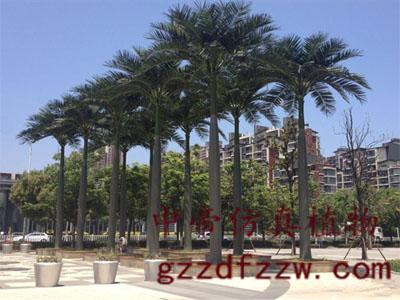 广州信誉好的仿真大王椰供应商推荐-室外玻璃钢大型植物假树