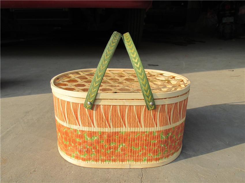 口碑良好的椭圆形竹篮哪里买,柳编水果篮定制