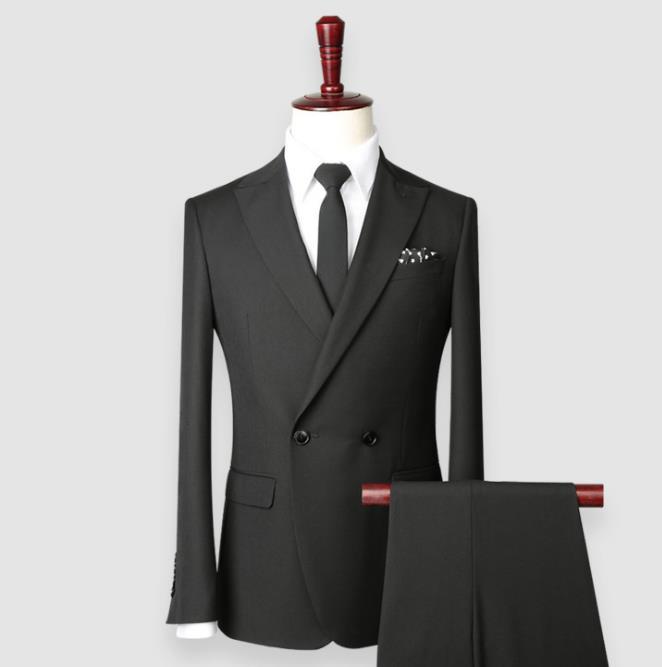 厂家直销秋冬新款双排一粒扣男士西服套装黑色商务修身款男士西装
