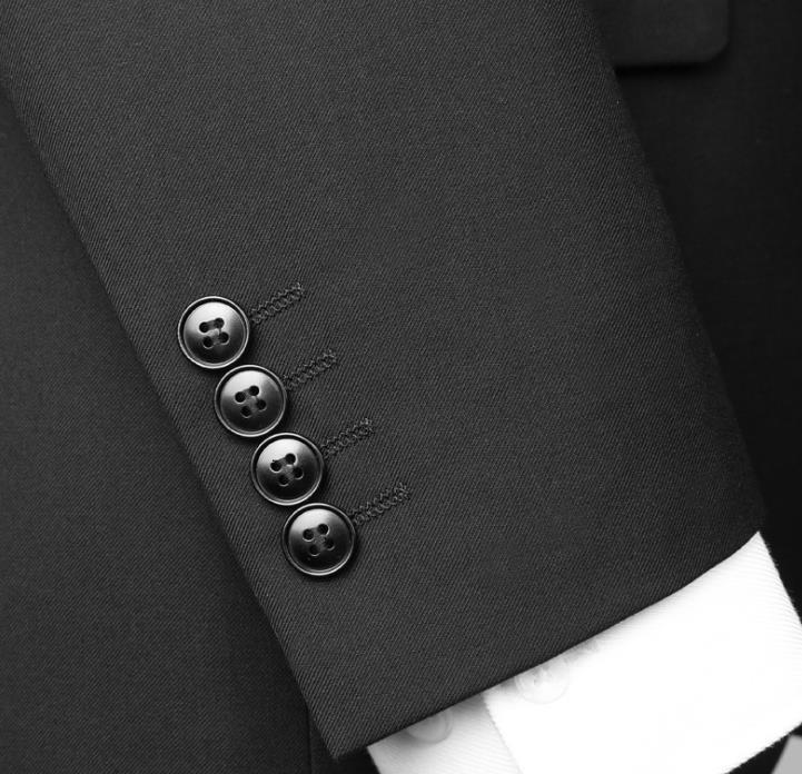 质量好的男士西服套装批发-晋江厂家直销秋冬新款双排一粒扣男士西服套装黑色商务修身款男士西装