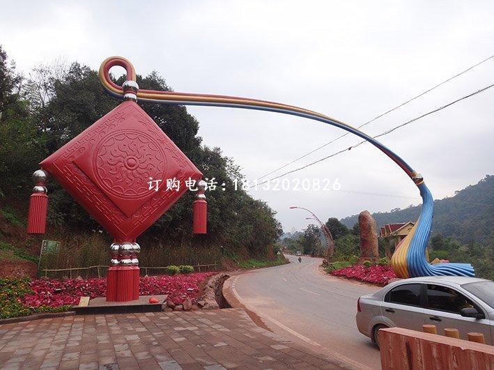 南通-找不锈钢抽象中国结拱门雕塑就来卓景雕塑