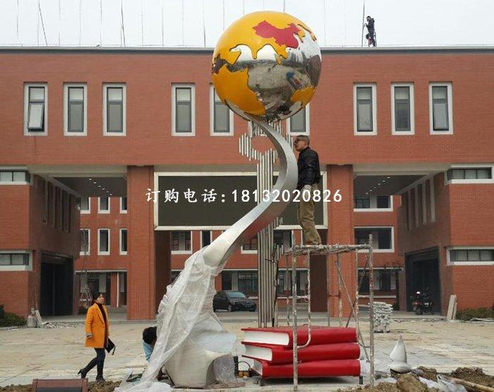出售河北口碑的不锈钢地球校园学校雕塑_商丘