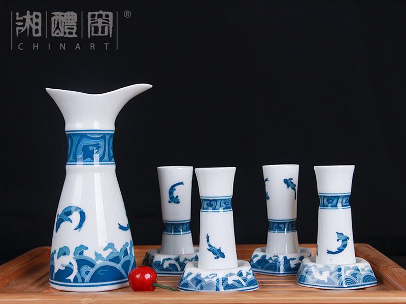 优惠的步步高升青花陶瓷酒具上哪买,商务礼品