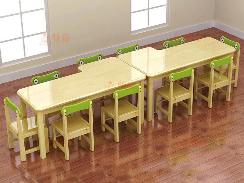 幼儿园实木课桌椅厂家供应 木质幼儿园桌椅