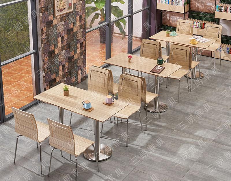 三朗家具快餐桌椅奶茶甜品小吃店桌椅餐厅食堂饭店桌椅批发