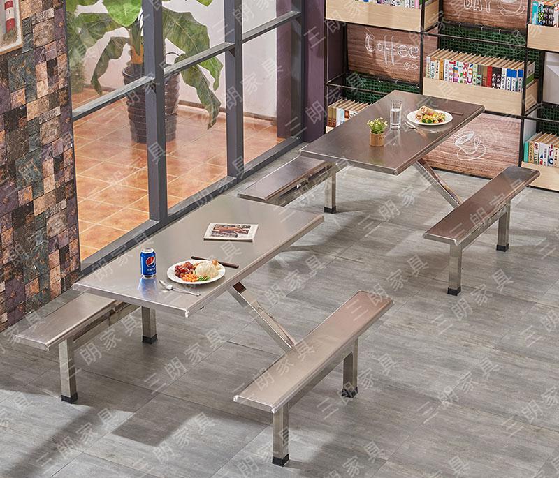 三朗家具工厂员工食堂不锈钢快餐桌椅学校学生饭堂连体餐桌椅