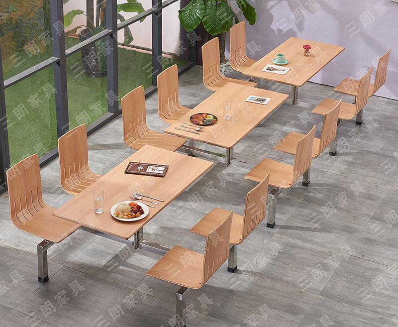 三朗家具学校食堂饭堂快餐餐桌椅四人连体不锈钢餐桌组合定制批发
