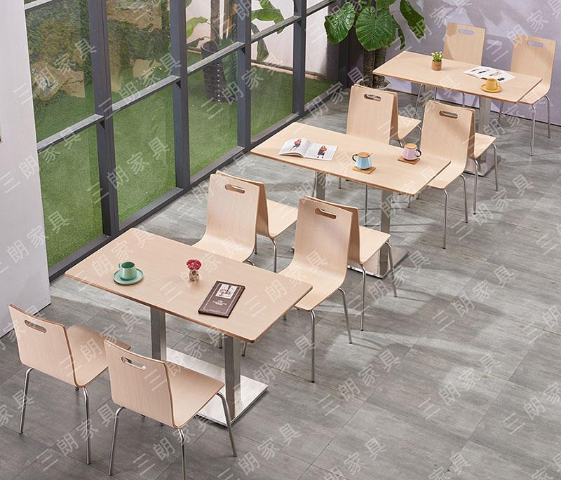 三朗快餐店餐桌椅组合餐饮店员工食堂饭堂奶茶咖啡店餐桌椅批发