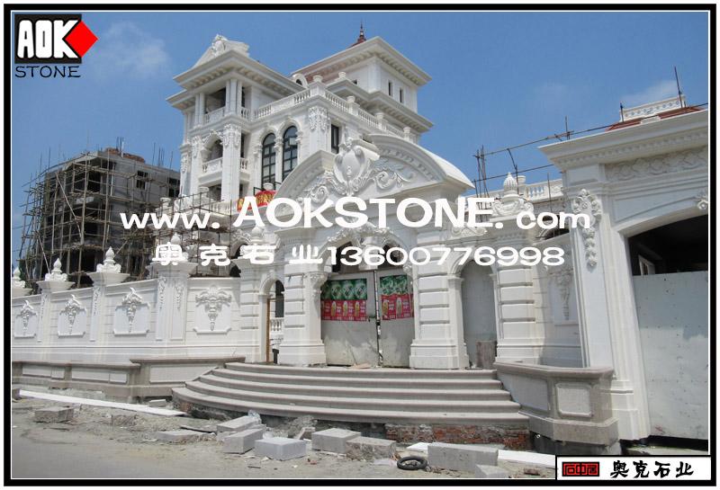 私人高档欧式别墅外墙干挂石材装修装饰