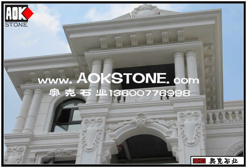 欧式别墅效果图设计——泉州奥克石业提供的外墙石材雕花好不好