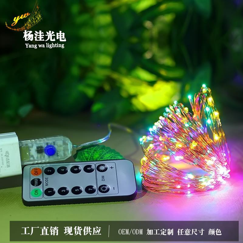 厂家直销遥控usb铜线灯串led圣诞节生日装饰彩灯灯串