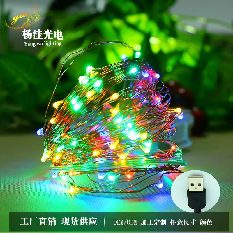 厂家直销圣诞春节创意宴会工艺品新年装饰usb铜线灯串