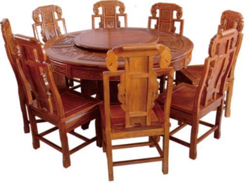 红木,榆木圆餐桌