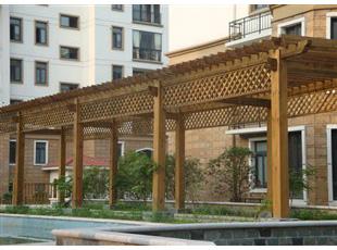 防腐木花架长廊制作-绿柯防腐木质量好的花架长廊新品上市
