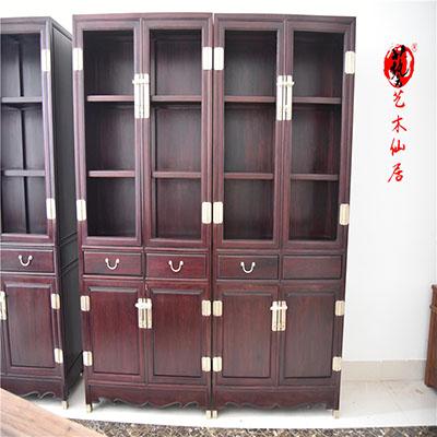 赞比亚血檀明式书柜红木非洲小叶紫檀书房家具书架柜红木家具