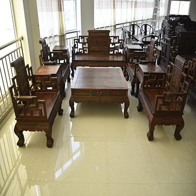 红木客厅沙发组合大红酸枝卷书沙发红酸枝家具交趾黄檀